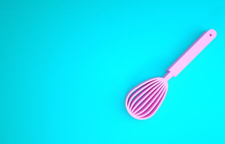 Pink Kitchen whisk icon isolated on blue background. Cooking utensil, egg beater. Cutlery sign. Food mix symbol. Minimalism concept. 3d illustration 3D render