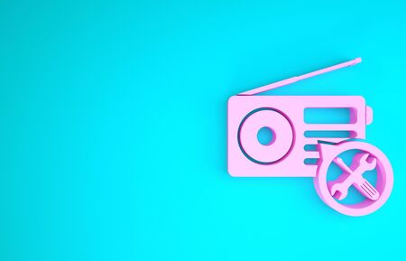 Pink Radio with screwdriver and wrench icon isolated on blue background. Adjusting, service, setting, maintenance, repair, fixing. Minimalism concept. 3d illustration 3D render
