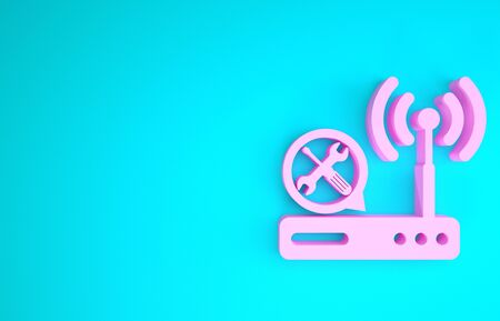 Pink Router wifi with screwdriver and wrench icon isolated on blue background. Adjusting, service, setting, maintenance, repair, fixing. Minimalism concept. 3d illustration 3D render Stock fotó