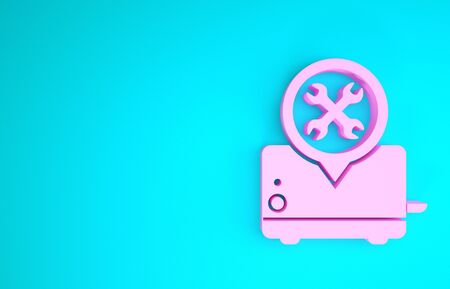 Pink Toaster with screwdriver and wrench icon isolated on blue background. Adjusting, service, setting, maintenance, repair, fixing. Minimalism concept. 3d illustration 3D render