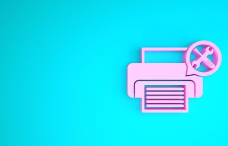 Pink Printer with screwdriver and wrench icon isolated on blue background. Adjusting, service, setting, maintenance, repair, fixing. Minimalism concept. 3d illustration 3D render