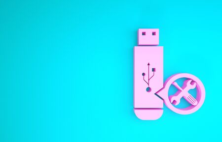 Pink USB flash drive with screwdriver and wrench icon isolated on blue background. Adjusting, service, setting, maintenance, repair, fixing. Minimalism concept. 3d illustration 3D render