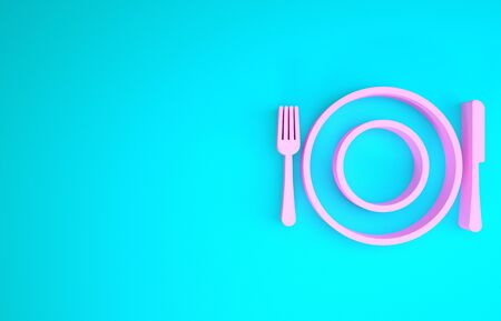 Pink Plate, fork and knife icon isolated on blue background. Cutlery symbol. Restaurant sign. Minimalism concept. 3d illustration 3D render