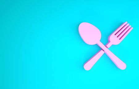 Pink Crossed fork and spoon icon isolated on blue background. Cooking utensil. Cutlery sign. Minimalism concept. 3d illustration 3D render
