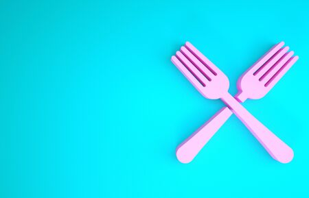 Pink Crossed fork icon isolated on blue background. Cutlery symbol. Minimalism concept. 3d illustration 3D render