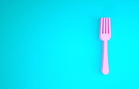 Pink Fork icon isolated on blue background. Cutlery symbol. Minimalism concept. 3d illustration 3D render