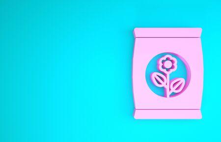 Pink Fertilizer bag icon isolated on blue background. Minimalism concept. 3d illustration 3D render 版權商用圖片
