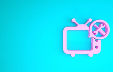 Pink Tv with screwdriver and wrench icon isolated on blue background. Adjusting, service, setting, maintenance, repair, fixing. Minimalism concept. 3d illustration 3D render
