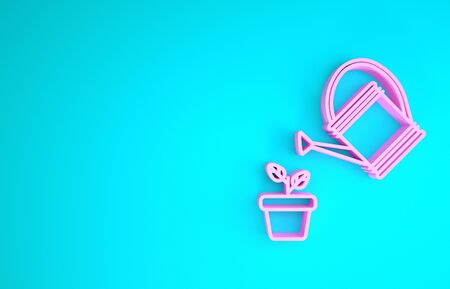 Pink Watering can sprays water drops above plant in pot icon isolated on blue background. Irrigation symbol. Minimalism concept. 3d illustration 3D render 版權商用圖片