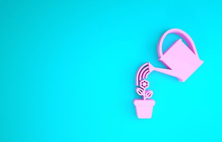 Pink Watering can sprays water drops above flower in pot icon isolated on blue background. Irrigation symbol. Minimalism concept. 3d illustration 3D render 版權商用圖片