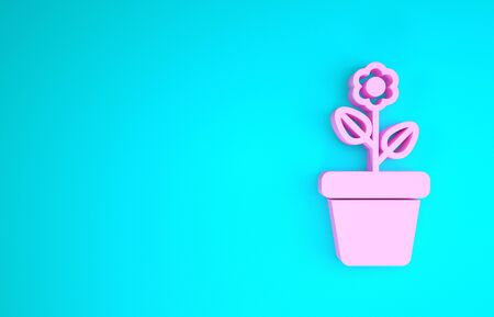 Pink Flower in pot icon isolated on blue background. Plant growing in a pot. Potted plant sign. Minimalism concept. 3d illustration 3D render