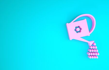 Pink Watering can icon isolated on blue background. Irrigation symbol. Minimalism concept. 3d illustration 3D render 版權商用圖片