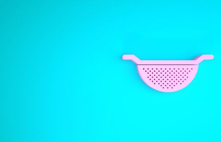 Pink Kitchen colander icon isolated on blue background. Cooking utensil. Cutlery sign. Minimalism concept. 3d illustration 3D render