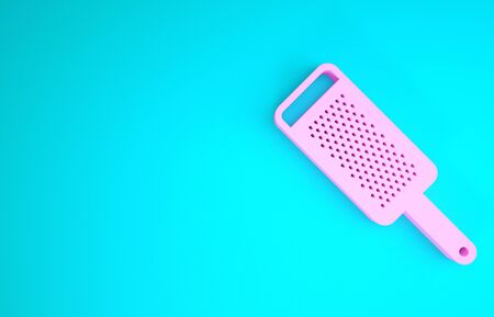 Pink Grater icon isolated on blue background. Kitchen symbol. Cooking utensil. Cutlery sign. Minimalism concept. 3d illustration 3D render