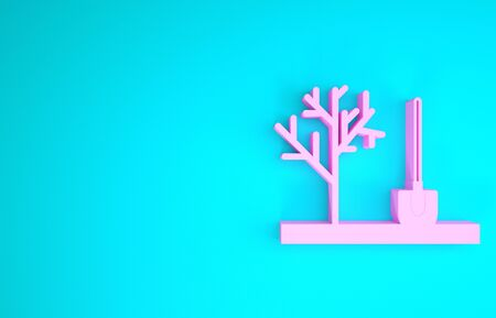 Pink Planting a tree in the ground icon isolated on blue background. Gardening, agriculture, caring for environment. Minimalism concept. 3d illustration 3D render