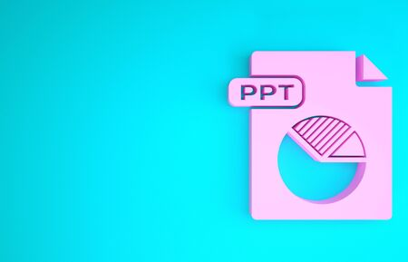 Pink PPT file document. Download ppt button icon isolated on blue background. PPT file presentation. Minimalism concept. 3d illustration 3D render