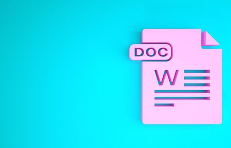 Pink DOC file document. Download doc button icon isolated on blue background. DOC file extension symbol. Minimalism concept. 3d illustration 3D render
