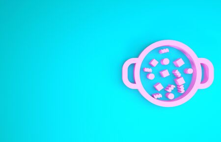 Pink Cooking soup in pot icon isolated on blue background. Boil or stew food symbol. Minimalism concept. 3d illustration 3D render
