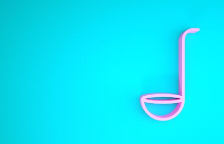 Pink Kitchen ladle icon isolated on blue background. Cooking utensil. Cutlery spoon sign. Minimalism concept. 3d illustration 3D render