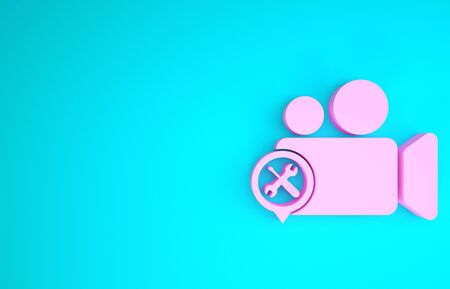 Pink Video camera with screwdriver and wrench icon isolated on blue background. Adjusting, service, setting, maintenance, repair, fixing. Minimalism concept. 3d illustration 3D render
