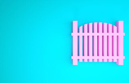 Pink Garden fence wooden icon isolated on blue background. Minimalism concept. 3d illustration 3D render Stock Photo