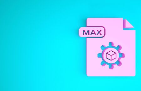 Pink MAX file document. Download max button icon isolated on blue background. MAX file symbol. Minimalism concept. 3d illustration 3D render