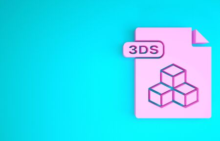 Pink 3DS file document. Download 3ds button icon isolated on blue background. 3DS file symbol. Minimalism concept. 3d illustration 3D render