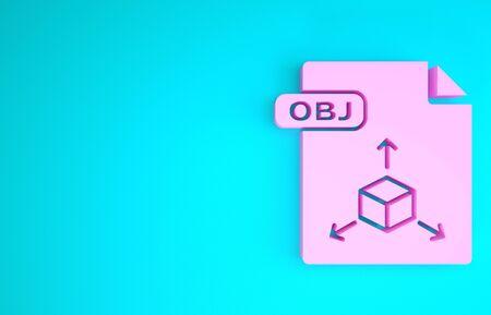 Pink OBJ file document. Download obj button icon isolated on blue background. OBJ file symbol. Minimalism concept. 3d illustration 3D render