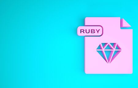 Pink RUBY file document. Download ruby button icon isolated on blue background. RUBY file symbol. Minimalism concept. 3d illustration 3D render