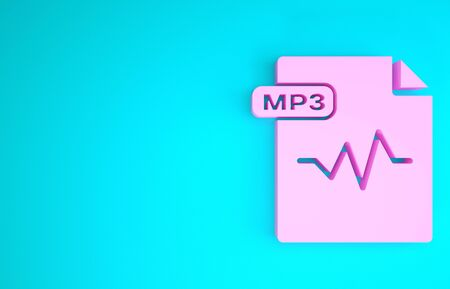 Pink MP3 file document. Download mp3 button icon isolated on blue background. Mp3 music format sign. MP3 file symbol. Minimalism concept. 3d illustration 3D render