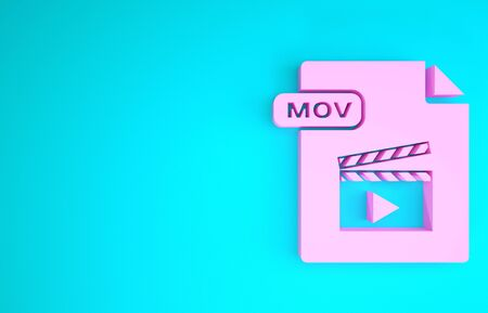 Pink MOV file document. Download mov button icon isolated on blue background. MOV file symbol. Audio and video collection. Minimalism concept. 3d illustration 3D render Banco de Imagens