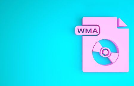 Pink WMA file document. Download wma button icon isolated on blue background. WMA file symbol. Wma music format sign. Minimalism concept. 3d illustration 3D render