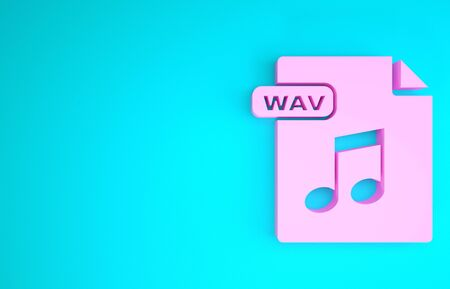 Pink WAV file document. Download wav button icon isolated on blue background. WAV waveform audio file format for digital audio riff files. Minimalism concept. 3d illustration 3D render