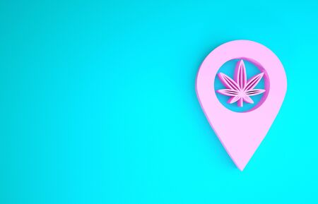 Pink Map pointer and marijuana or cannabis leaf icon isolated on blue background. Hemp symbol. Minimalism concept. 3d illustration 3D render