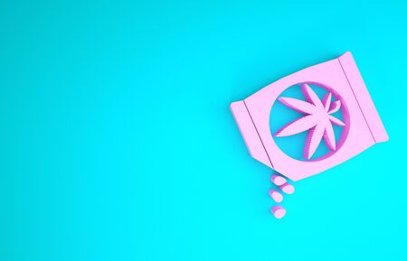 Pink Marijuana or cannabis seeds in a bag icon isolated on blue background. Hemp symbol. The process of planting marijuana. Minimalism concept. 3d illustration 3D render Zdjęcie Seryjne