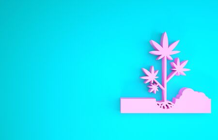 Pink Planting marijuana or cannabis plant in the ground icon isolated on blue background. Marijuana growing concept. Hemp symbol. Minimalism concept. 3d illustration 3D render