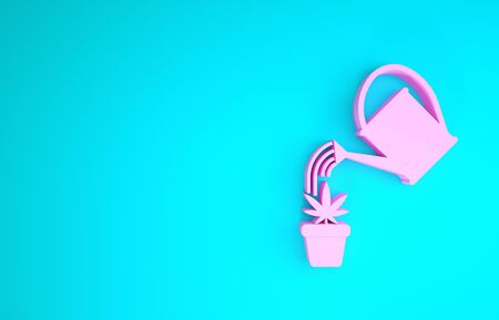 Pink Watering can sprays water drops above marijuana or cannabis plant in pot icon isolated on blue background. Marijuana growing concept. Minimalism concept. 3d illustration 3D render