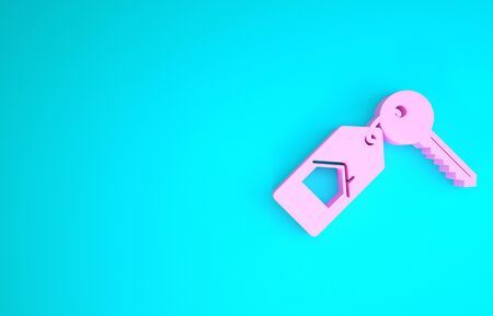 Pink House with key icon isolated on blue background. The concept of the house turnkey. Minimalism concept. 3d illustration 3D render