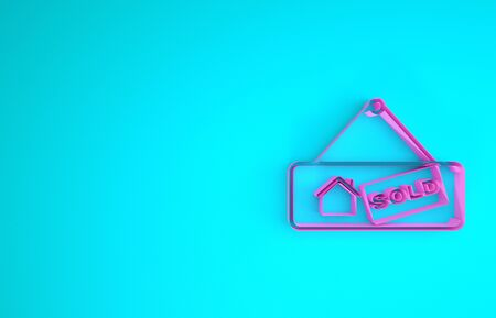 Pink Hanging sign with text Sold icon isolated on blue background. Sold sticker. Sold signboard. Minimalism concept. 3d illustration 3D render Reklamní fotografie - 133899759