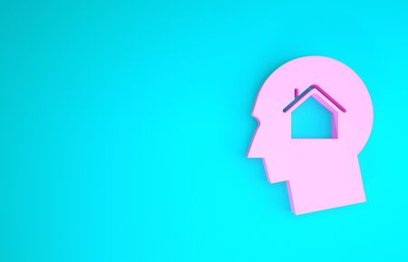 Pink Man dreaming about buying a new house icon isolated on blue background. Minimalism concept. 3d illustration 3D render