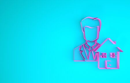 Pink Realtor icon isolated on blue background. Buying house. Minimalism concept. 3d illustration 3D render