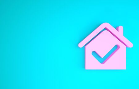 Pink House with check mark icon isolated on blue background. Real estate agency or cottage town elite class. Minimalism concept. 3d illustration 3D render 스톡 콘텐츠