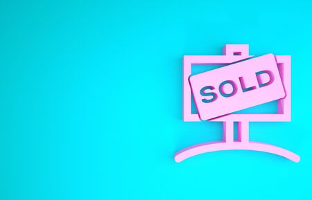 Pink Hanging sign with text Sold icon isolated on blue background. Sold sticker. Sold signboard. Minimalism concept. 3d illustration 3D render Reklamní fotografie - 133899865