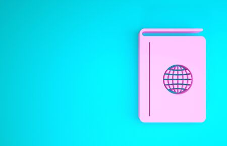 Pink Cover book travel guide icon isolated on blue background. Minimalism concept. 3d illustration 3D render