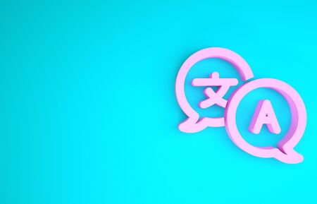 Pink Translator icon isolated on blue background. Foreign language conversation icons in chat speech bubble. Translating concept. Minimalism concept. 3d illustration 3D render