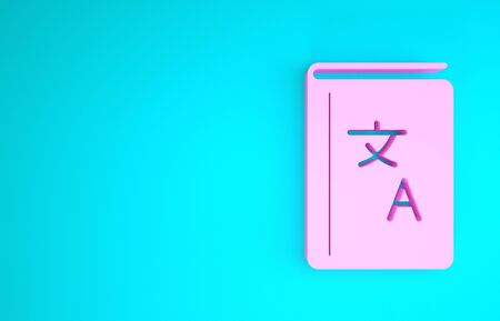 Pink Translator book icon isolated on blue background. Foreign language conversation icons in chat speech bubble. Translating concept. Minimalism concept. 3d illustration 3D render