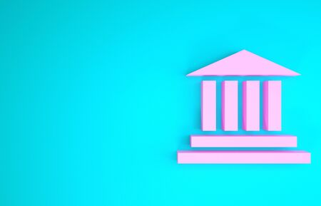 Pink building icon isolated on blue background. Minimalism concept. 3d illustration 3D render