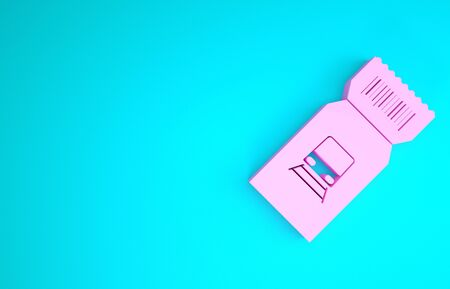 Pink Train ticket icon isolated on blue background. Travel by railway. Minimalism concept. 3d illustration 3D render