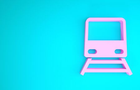 Pink Train icon isolated on blue background. Public transportation symbol. Subway train transport. Metro underground. Minimalism concept. 3d illustration 3D render Stockfoto