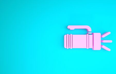 Pink Flashlight icon isolated on blue background. Tourist flashlight handle. Minimalism concept. 3d illustration 3D render Stock fotó